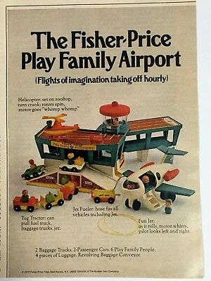 Vintage 1972 FISHER-PRICE Play Family Airport Print Ad