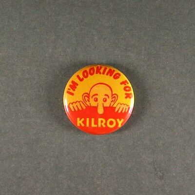 "Vintage Style WW2 Art Pinback Button 1"" US Army  GI's Graffiti  Kilroy"