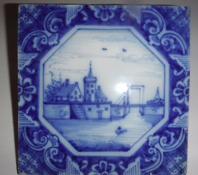 ANTIQUE DUTCH DELFT TILE - Holland Bridge Shore Scene w Ornate Edge - 8 Side- 6""