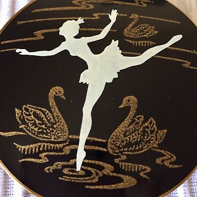 Vintage 1950's Enamel and Copper Swan Lake Powder Mirror Compact.