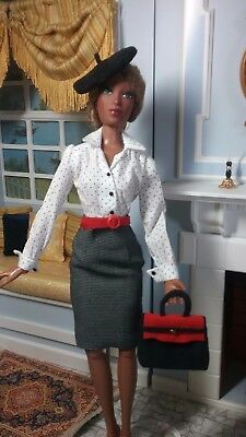 """Tailored Separates in White, Black, Red fits slender 16"""" Fashion dolls"""