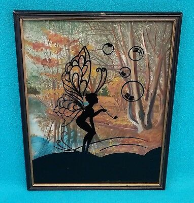 Vintage FAIRY BLOWING BUBBLES w/PIPE Framed Reverse Glass Silhouette~Pixie Art