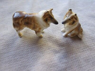 """Little Set of 2 Porcelain Collies  2 1/4"""" x 1 3/4"""" and Smaller  VGC"""