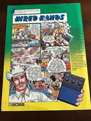 "1984 VINTAGE 8X11 PRINT Ad FOR BOSS HAND CLAPPER HC-2 CARTOON ART ""HIRED HAND"""