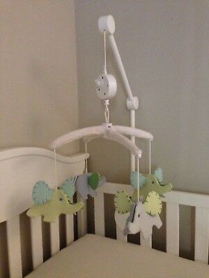 Pottery Barn Kids Flying Elephant Crib Mobile Blues & Greens Boy Girl *With Arm*