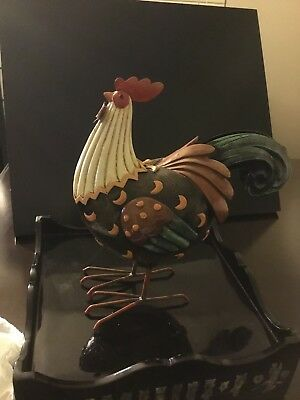 Excellent condition (1) Rooster figurine Red brown & green metal ( glossy)
