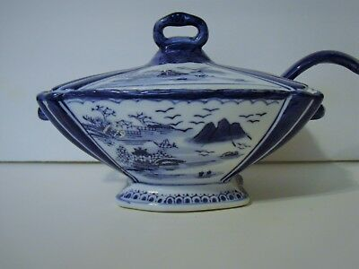 Sauce dish with laddle/spoon and lid-Oriental design, blue and white