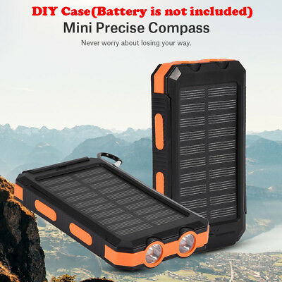 10000mAh Portable Dual USB Waterproof LED Solar Charger Bank Case with Compass