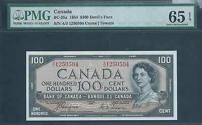 "CANADA, Bank of Canada $100 1954 BC-35a ""Devils Face"" PMG 65 EPQ Gem Unc"