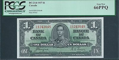 CANADA, Bank of Canada $1 1937 BC-21d PCGS 66 PPQ GEM Uncirculated.