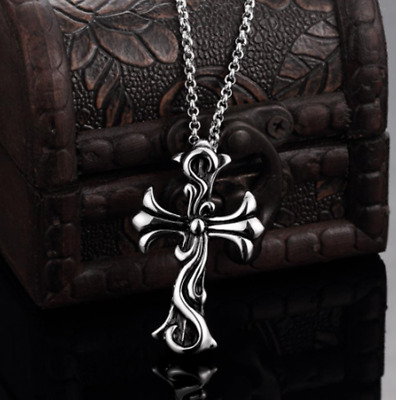 Mens Womens Stainless Steel Celtic Cross Pendant Link Chain Necklace #NE136