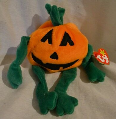 TY Beanie Babies PUMPKIN Halloween Jack o Lantern 1996 Retired Mint w/ Tags