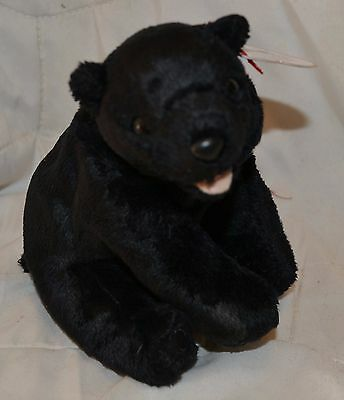 "TY Beanie Babies ""CINDERS"" Black SITTING Bear Retired 2000 8.5"" NEW w/ Tags MINT"