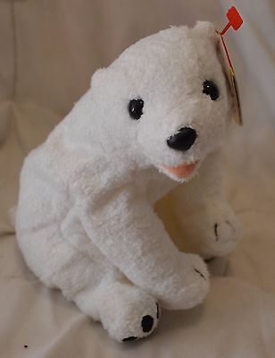"TY Beanie Babies ""AURORA"" White Sitting Bear Retired 2000 8.5"" NEW w/ Tags MINT"