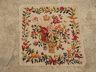 Vintage French Beautiful Hand Made Needle Point Floral Tapestry (45X43cm)