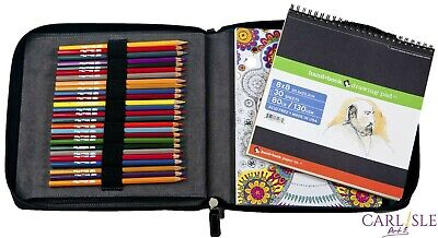 Global Coloring/Sketch Book Travel Case 80+ Pencils
