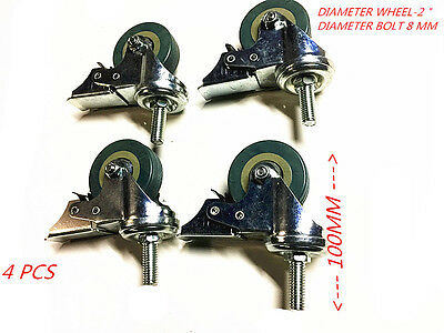 "4 PC 2"" HEAVY DUTY SWIVEL CASTOR WITH BRAKE(STOP) 8mm  BOLT & NUT"