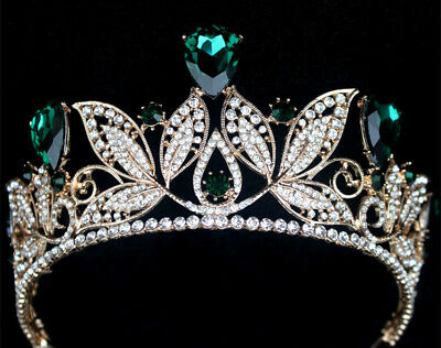 Pageant Blue Red Tiara Wedding Bridal Rhinestone Crystal Crown Prom Headband Ses