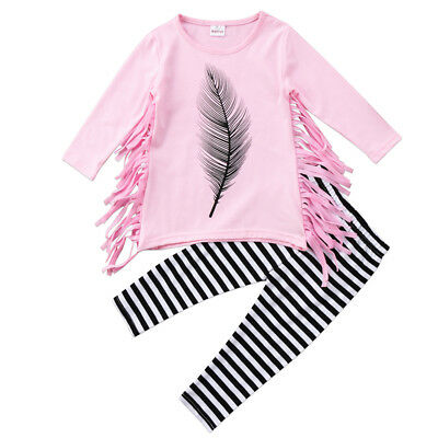 2PCS Toddler Baby Girls Tassel Princess Dress Pageant Party Dress Pants Outfits