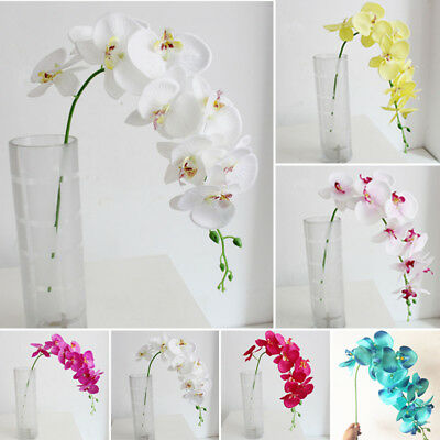 1 Bouquet Artificial Butterfly Orchid Silk Fake Flowers Home Wedding Party Decor