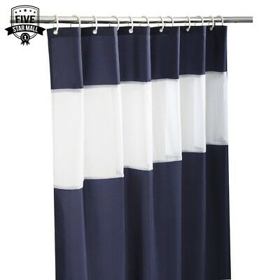 Navy Blue And White Shower Curtain Fabric And Gauze Shower Curtain