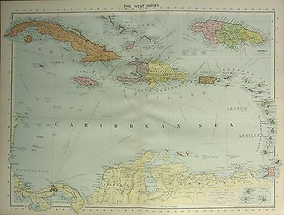 1934 Large Map ~ The West Indies ~ Jamaica Dominican Republic