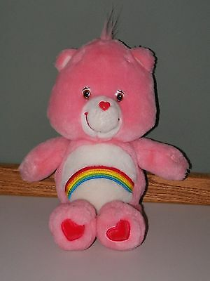 """13"""" Cheer Bear plush Care Bear 2002 pink with a rainbow on belly"""