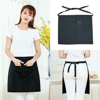 Black Short Money Apron With Zip Pockets Professional Waiter Server Pinny