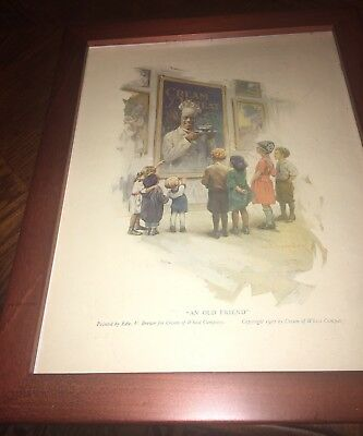"""Cream Of Wheat """"An Old Friend"""" 1922 Framed 11x14 Signed E Brewer"""