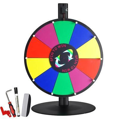 """WinSpin 15"""" 10 Slot Tabletop Color Dry Erase Prize Wheel and Stand Fortune..."""