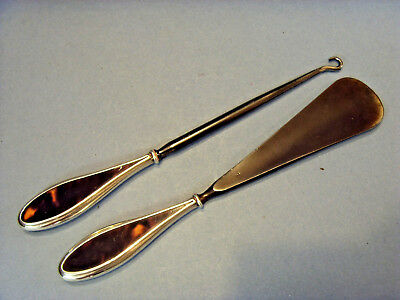 PAIR OF STERLING SILVER HANDLED/FAUX TORTOISESHELL SHOE HORN & BUTTON HOOK,c1922