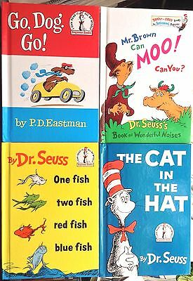 Lot of 4 Dr. Seuss: Cat in the Hat, One Fish, Mr. Brown Can Moo, Go Dog Go, HC