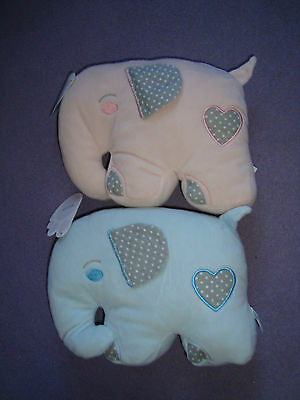 Plush elephant shaped cushion childs bedroom or toy ~ 2 shades ~ pink or blue