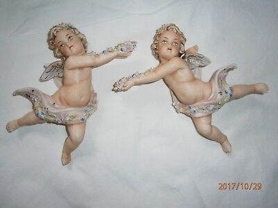 Vintage Norcrest Japan Ceramic Bisque Angel Cherub Hanging Wall Plaques Set of 2