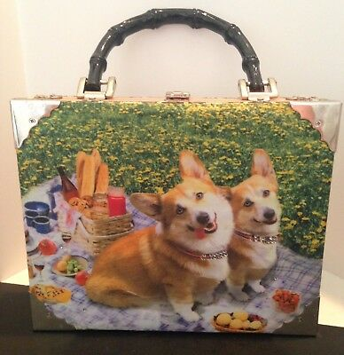 Welsh Corgi Cigar Box Purse With Two Dogs On A Picnic In The Parks