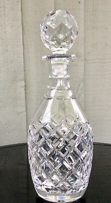 Royal Doulton England Hand Cut Crystal Glass Decanter. SIGNED.