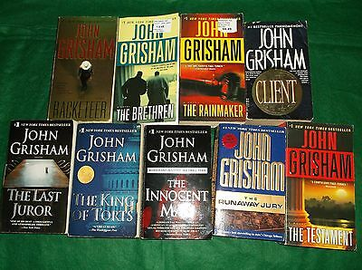 John Grisham lot of 9 PB, all in avg to good condition No Reserve!!!!!!!!!!!!