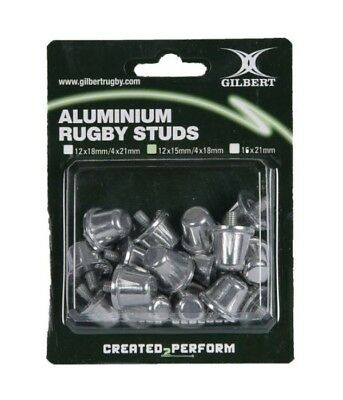 GILBERT 18/21mm Aluminium Rugby Studs Set Of 16 Replacement Metal Screw Boots