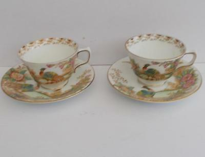 Sutherland English Bone China Hand Enamelled Exotic Cups and Saucers x 2.