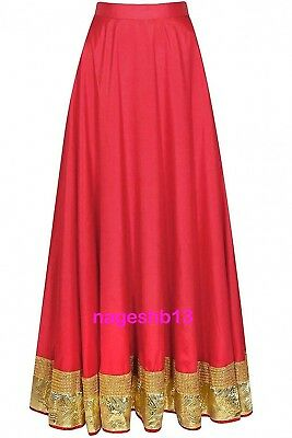 Indian Long Skirt, Bollywood Skirt, Red Cotton Skirt with Border, Dance Skirts