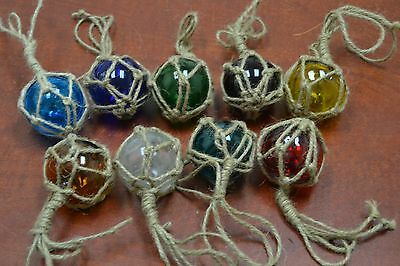 "12 Pcs Reproduction Glass Float Ball With Fishing Net 2"" **pick Your Colors**"