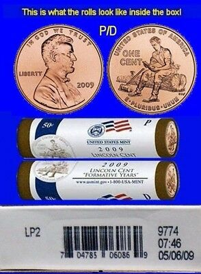 2009 BiCentennial Lincoln Cent Formative Years LP2 Mint Box P/D 2 ROLLS ERRORS?