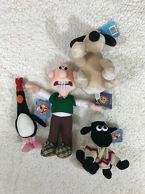 Wallace & Gromit Collectible Lot Of 4 Plush Shaun Feather McGraw NWT