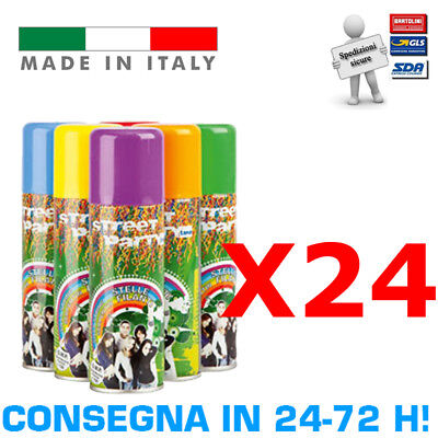 Street Party 24 Bombolette Spray Stelle Filanti Colorate Feste Party Carnevale