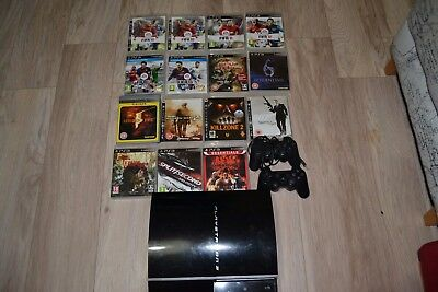 Sony PlayStation 3 40GB Black Console (CECH-G03) with 15 games and 2 controller
