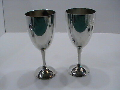 2 Vintage International Silver Plate Wine Glass Goblet Cup Water