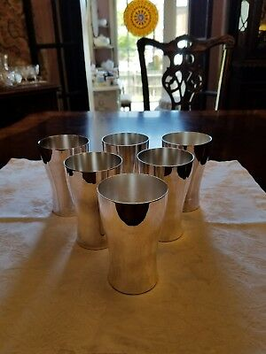 Set of 6 Homan Silverplate Nickel silver 10 oz Mint Julep cups Tumblers