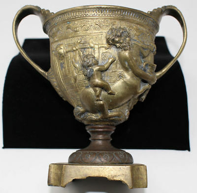 Antique Roman Greek Bronze Kantharos Vase Centaur Putti Grand Tour Cup Chalice