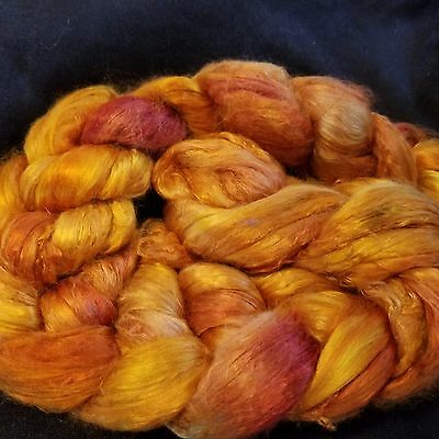 CRAZY Handpainted Silk Mulberry Bombyx Roving 100% brick A1 combed top GOLDNGIRL