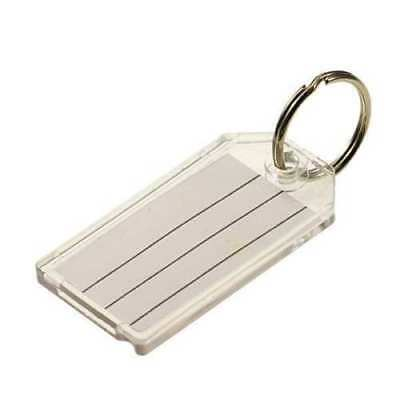 "Case of 200 Lucky Line 2-1/4"" x 1-1/8"" Split Ring Key Tag  Clear"